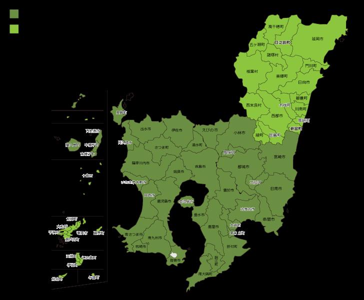 鹿児島県・宮崎県の自社メンテナンスエリア マップ