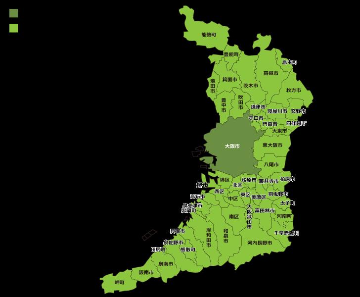 大阪市内の自社メンテナンスエリア マップ